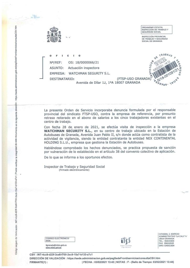 La I.T.S.S. sanciona a Watchman Security S.L. retraso en el abono de salarios en Granada